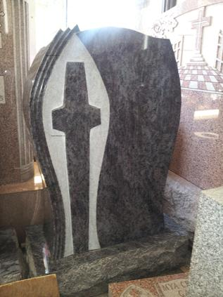 Blue Marble Granite tombstone with cross special shape resurrection cemetery staten island ny